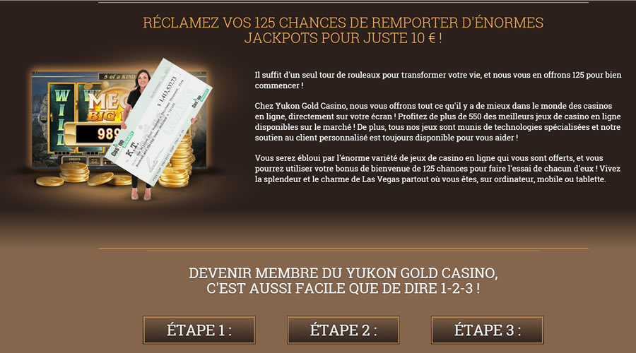 125 tours de bonus à l'inscription