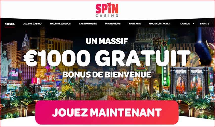 SpinCasino.com au Québec, des jeux de casino et des machines à sous