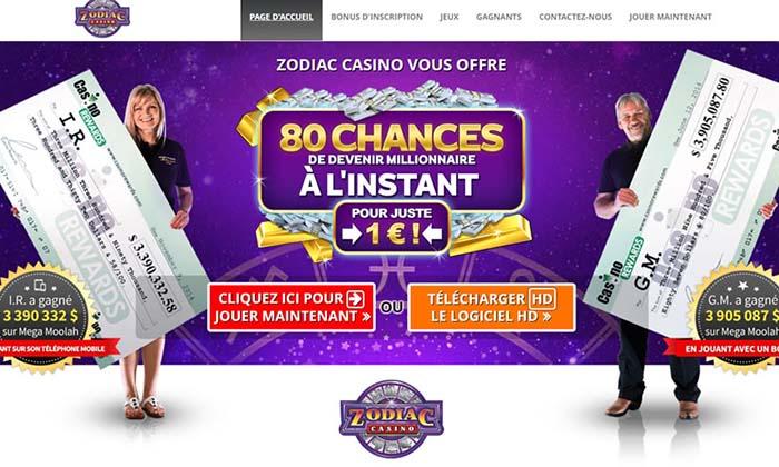 Zodiac Casino est le site qui produit les plus gros gagnants au Mega Moolah - Au Québec ce casino est légal et populaire