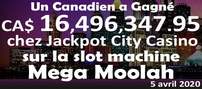 Record de gains 2020 au Mega Moolah chez Jackpot City Casino