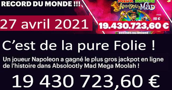 Jackpot record Mega Moolah en 2021